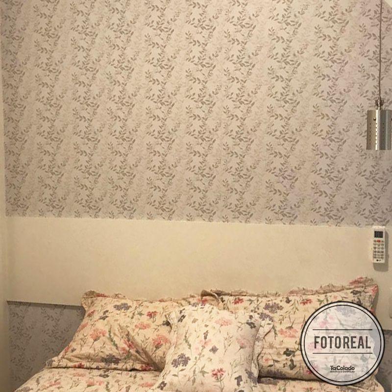 Promoção  - Papel de Parede Floral Folhas Cinza - Kit com 03 rolos  - TaColado