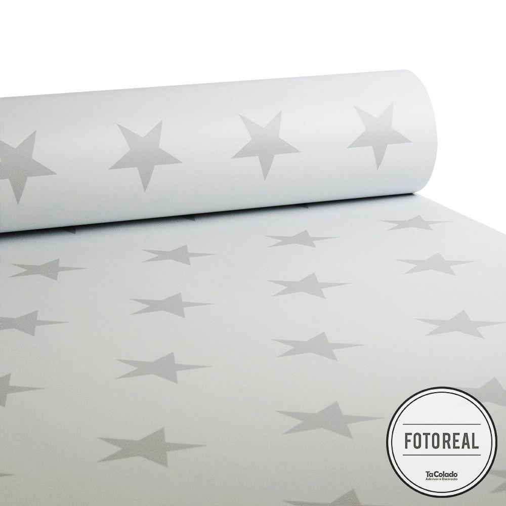 Promoção - Papel de Parede Infantil Estrelas Branco - Kit 04 rolos  - TaColado