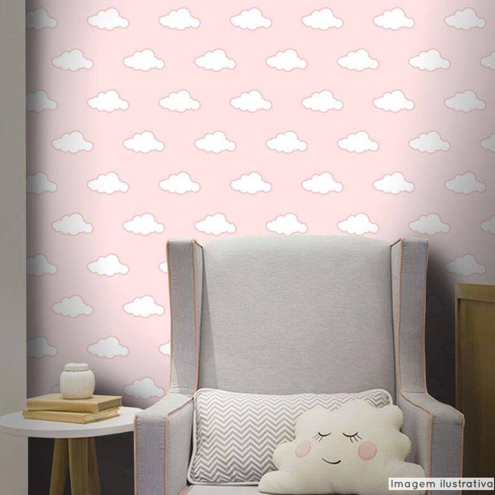 Promoção  - Papel de Parede Infantil Nuvens Rosa - Kit com 02 rolos  - TaColado