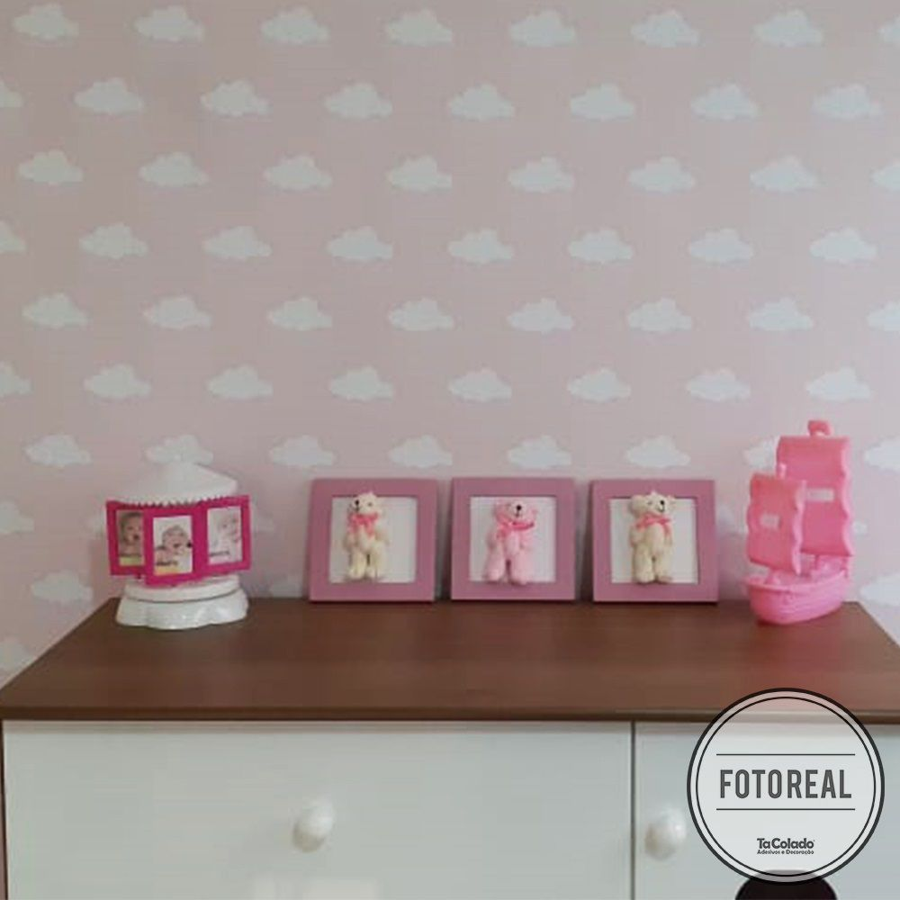 Promoção  - Papel de Parede Infantil  Nuvens Rosa - Kit com 04 rolos  - TaColado
