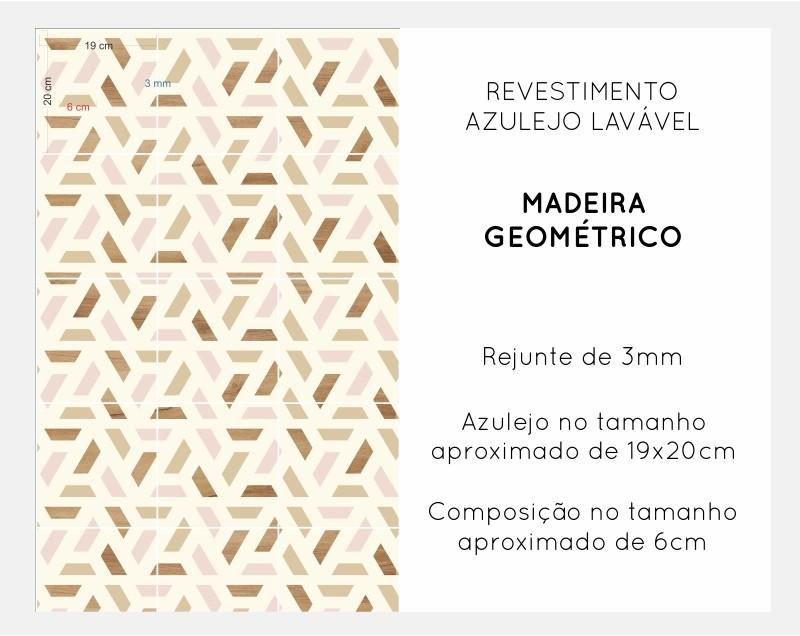 Promoção   - Papel de Parede Lavável para Banheiro Revestimento Madeira Geométrico  - TaColado