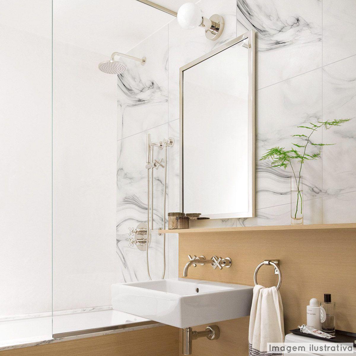 Promoção - Papel de Parede Lavável para Banheiro Revestimento Mármore Branco Prime  - TaColado