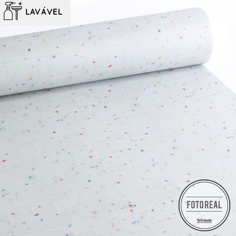 Promoção  - Papel de Parede Lavável para Banheiro Revestimento Pastilha Color  - TaColado