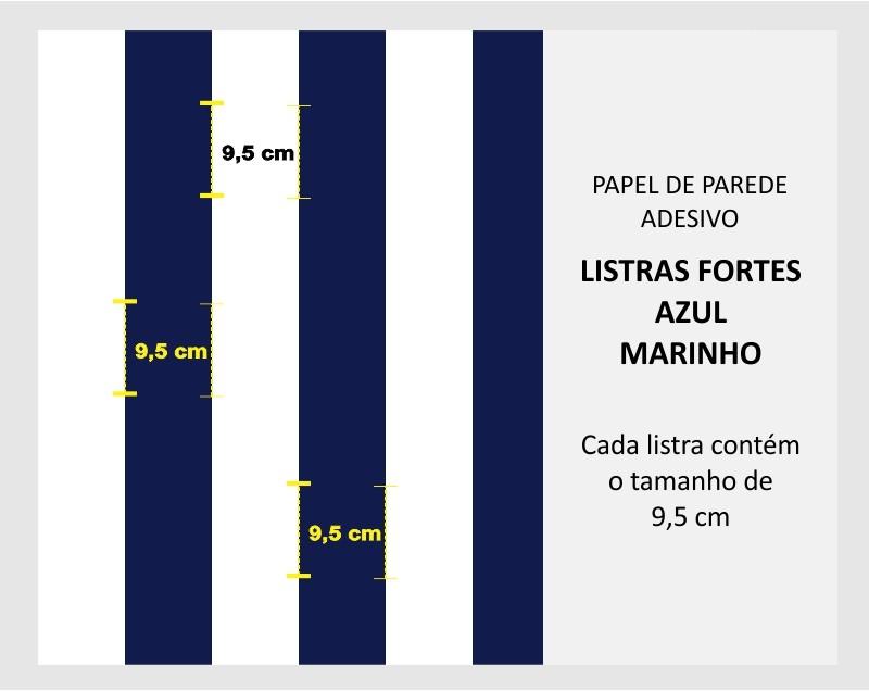 Promoção   - Papel de Parede Listras Fortes Classic Azul Marinho   - TaColado