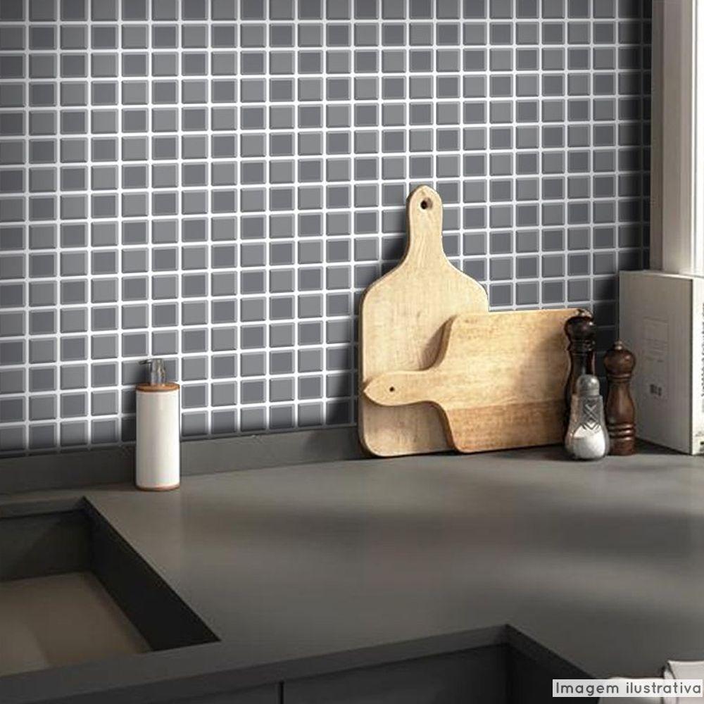 Promoção  - Papel de Parede Pastilha para Cozinha 3D Grafite  - TaColado