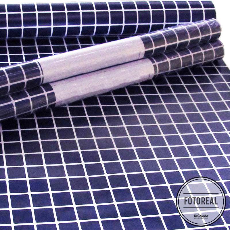 Promoção  - Papel de Parede Pastilha para Cozinha Clássica  Azul Marinho   - TaColado