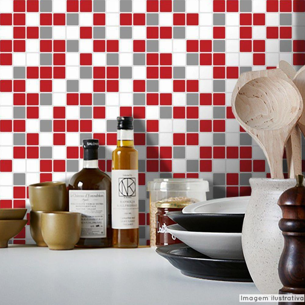 Promoção  - Papel de Parede Pastilha para Cozinha Clássica Mix Vermelho e Cinza  - TaColado