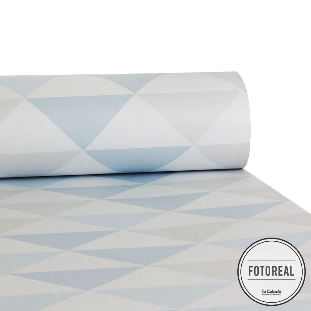 Promoção  - Papel de Parede Triângulo Clear Azul e Cinza  - TaColado