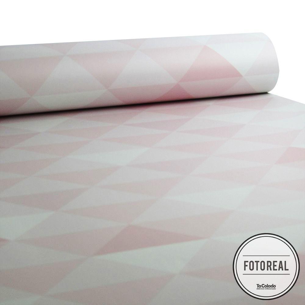 Promoção - Papel de Parede Triângulo Clear Rosa e Cinza  - TaColado