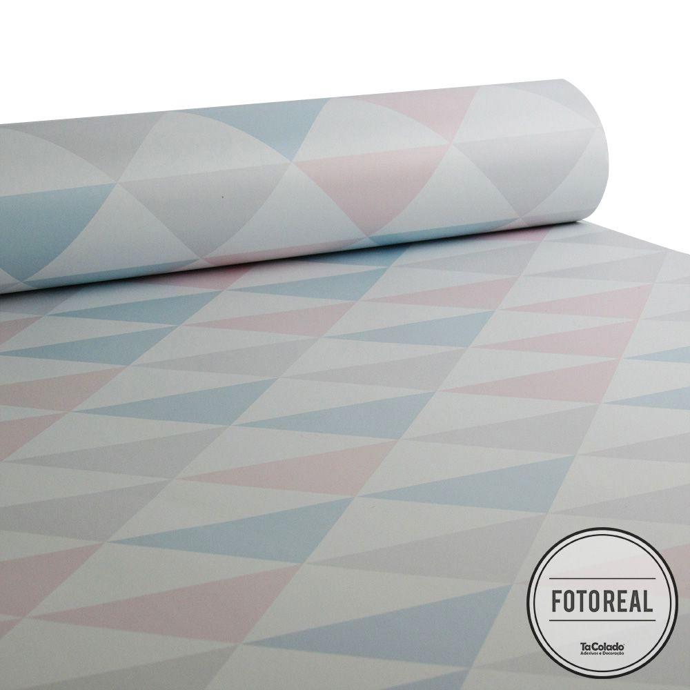 Promoção  - Papel de Parede Triângulo Clear Tricolor  - TaColado