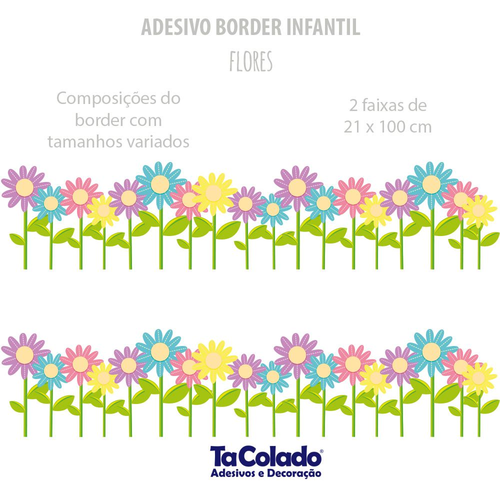 Faixa de Parede Flores  - TaColado
