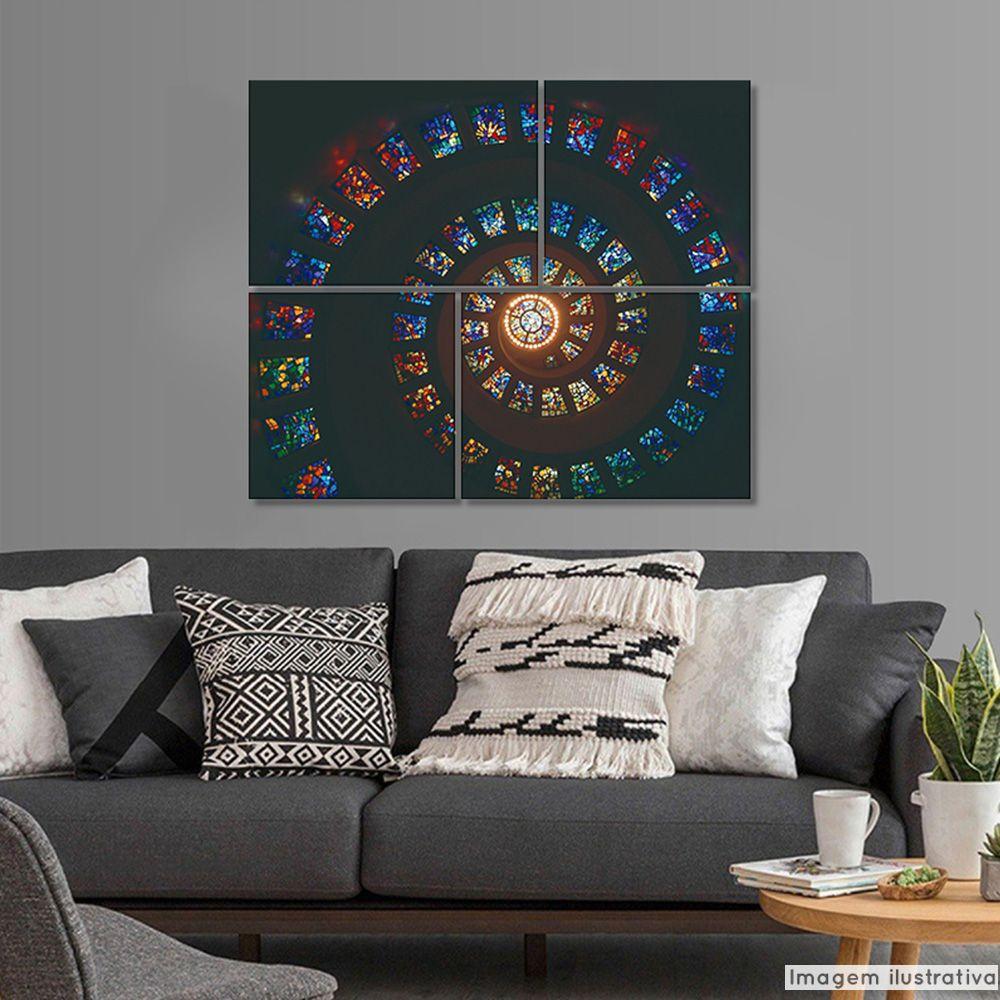 Conjunto 4 Telas Decorativas Vitrais Espiral  - TaColado