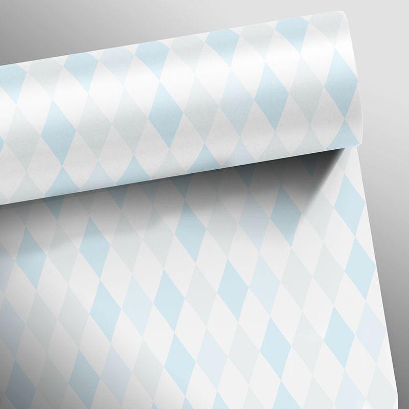 Promoção  - Papel de Parede Losango Clear Azul e Cinza  - TaColado