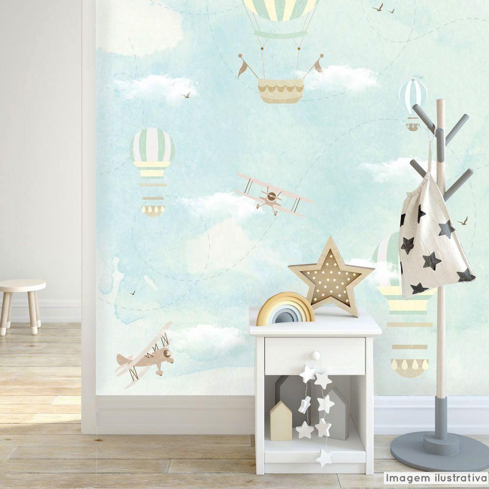 Mural Balão e Avião  - TaColado