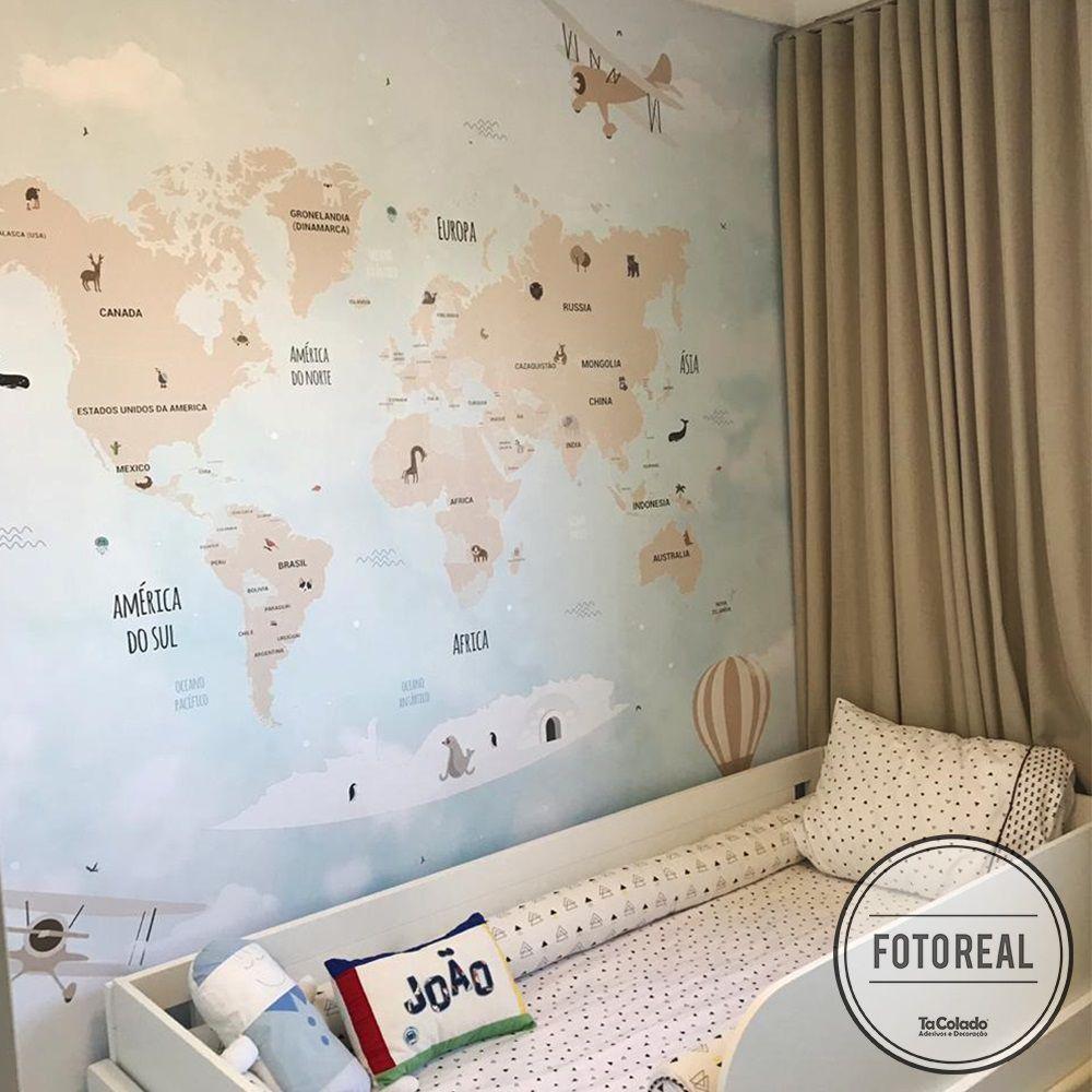 Mural Mapa Mundi Infantil  - TaColado