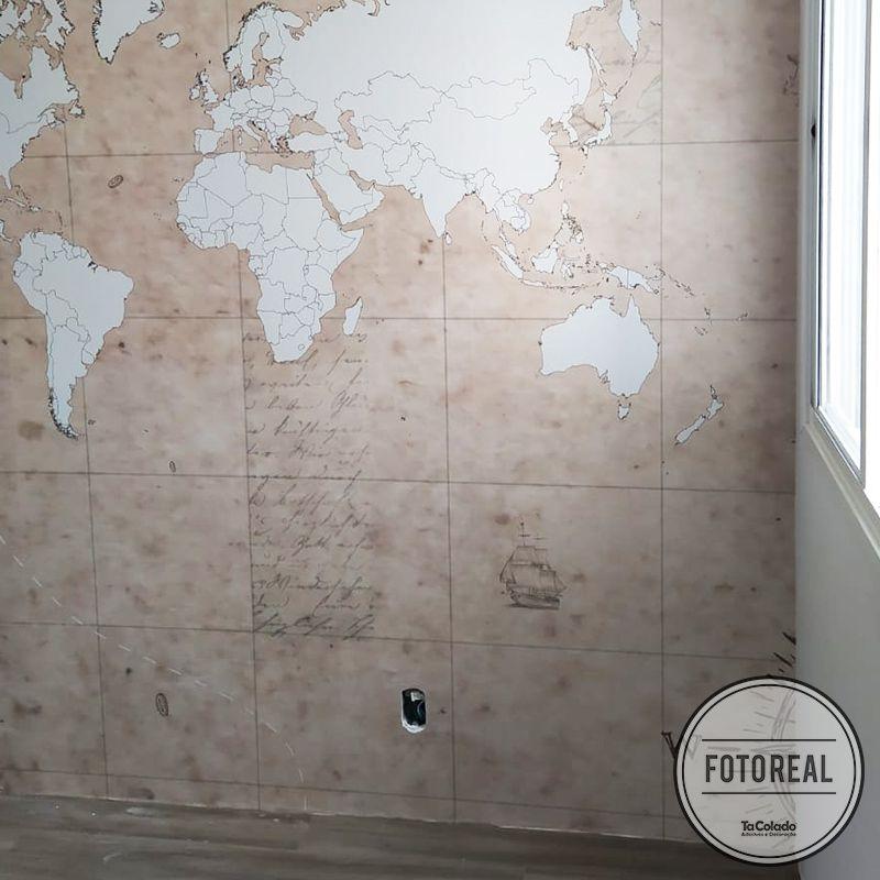 Mural Mapa Mundi Vintage  - TaColado