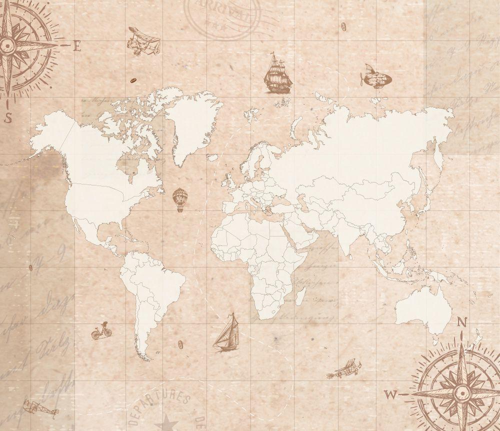 Queima de Estoque - Mural Mapa Mundi Vintage 3,48 x 3,00m  - TaColado