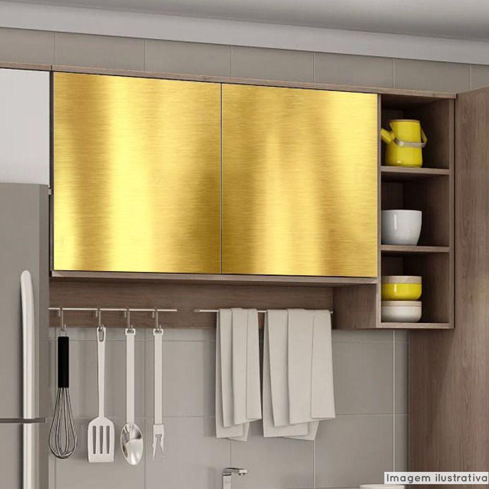 Outlet - Adesivo para Móveis Cromado Dourado 0,61x0,60m  - TaColado