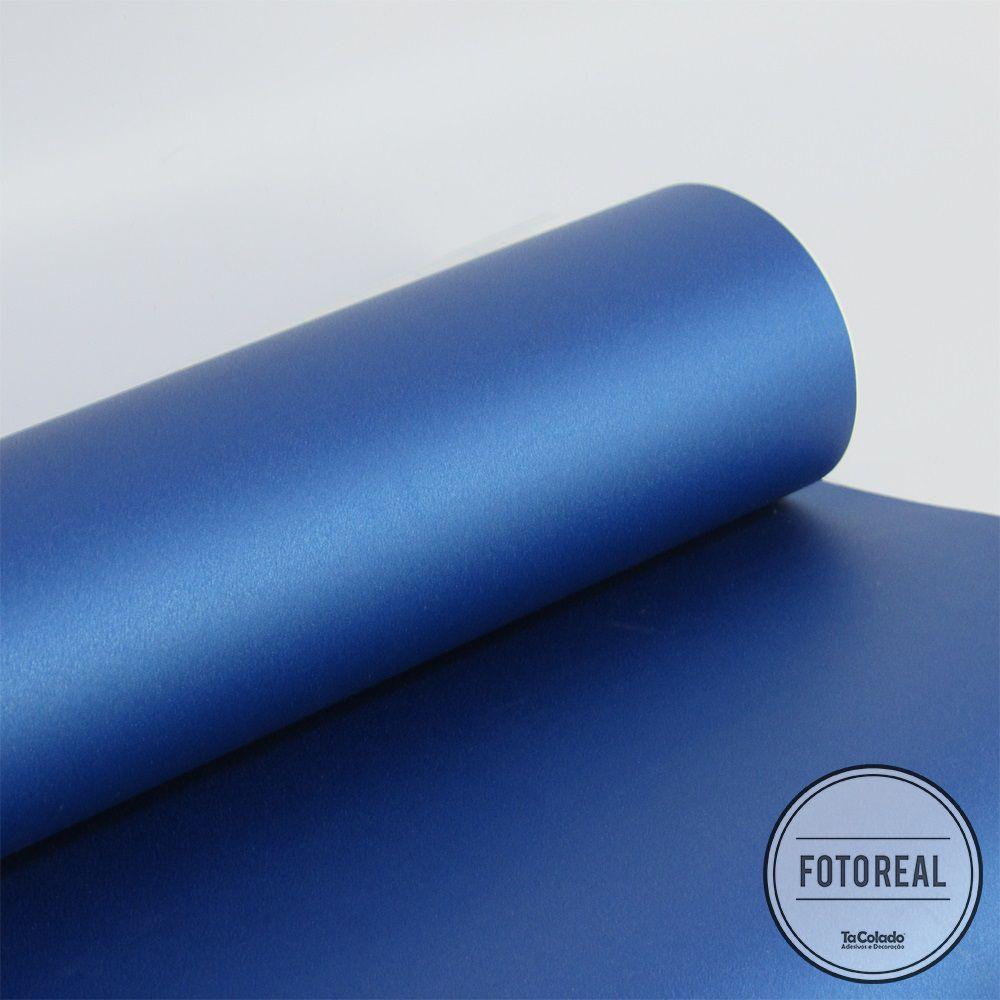 Outlet - Adesivo para Móveis Jateado Blue Metallic 0,61x1,00m  - TaColado