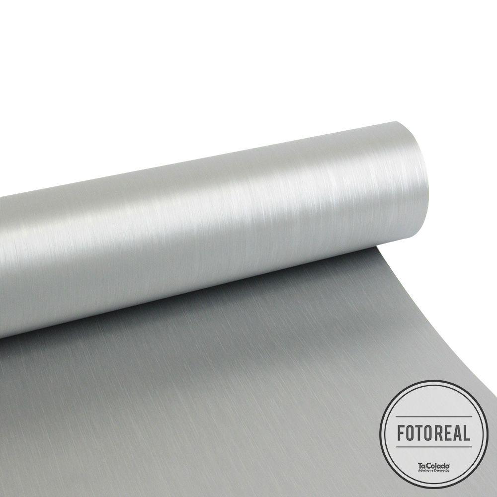 Outlet- Adesivo para geladeira Escovado Prata 0,50X0,70m  - TaColado