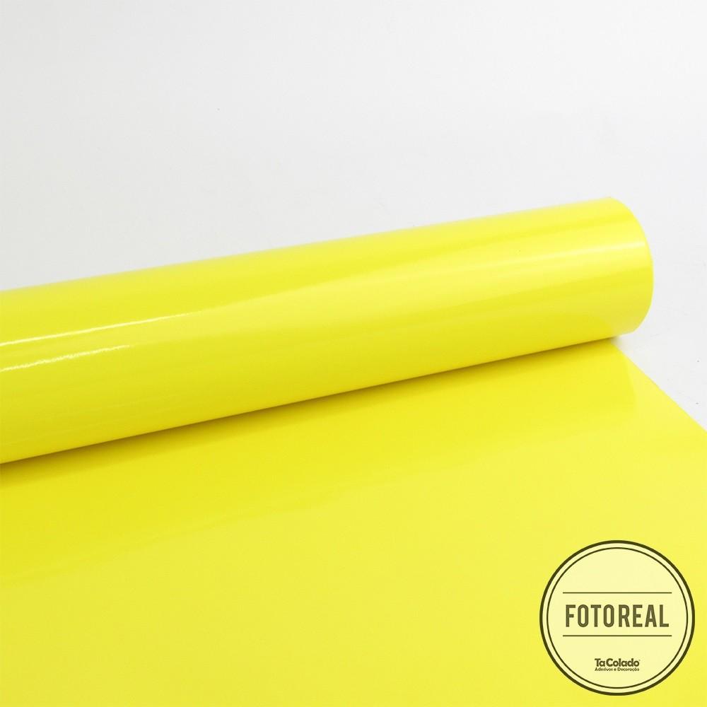 Outlet - Adesivo para móveis Brilhante Amarelo Limão 0,61X5,0m  - TaColado