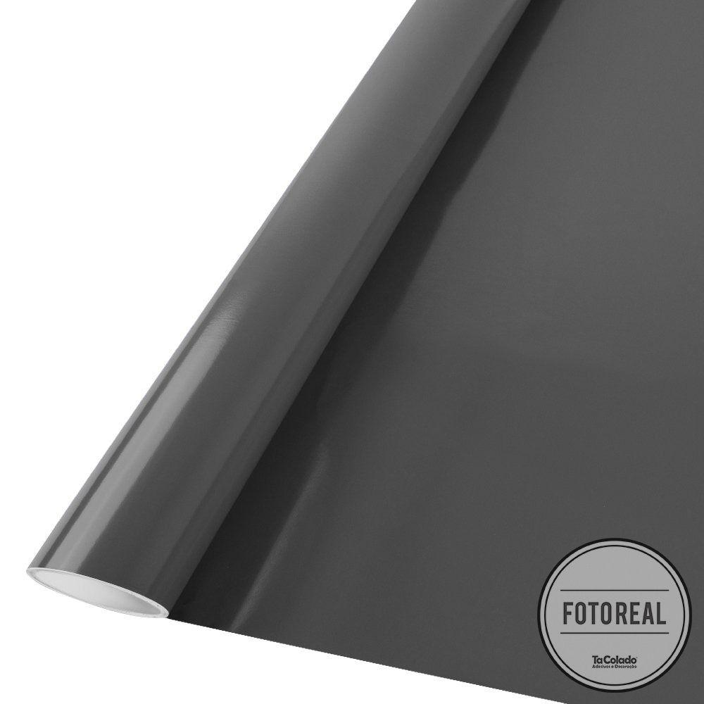 Outlet - Adesivo para móveis Brilhante Cinza Escuro 0,61m  - TaColado