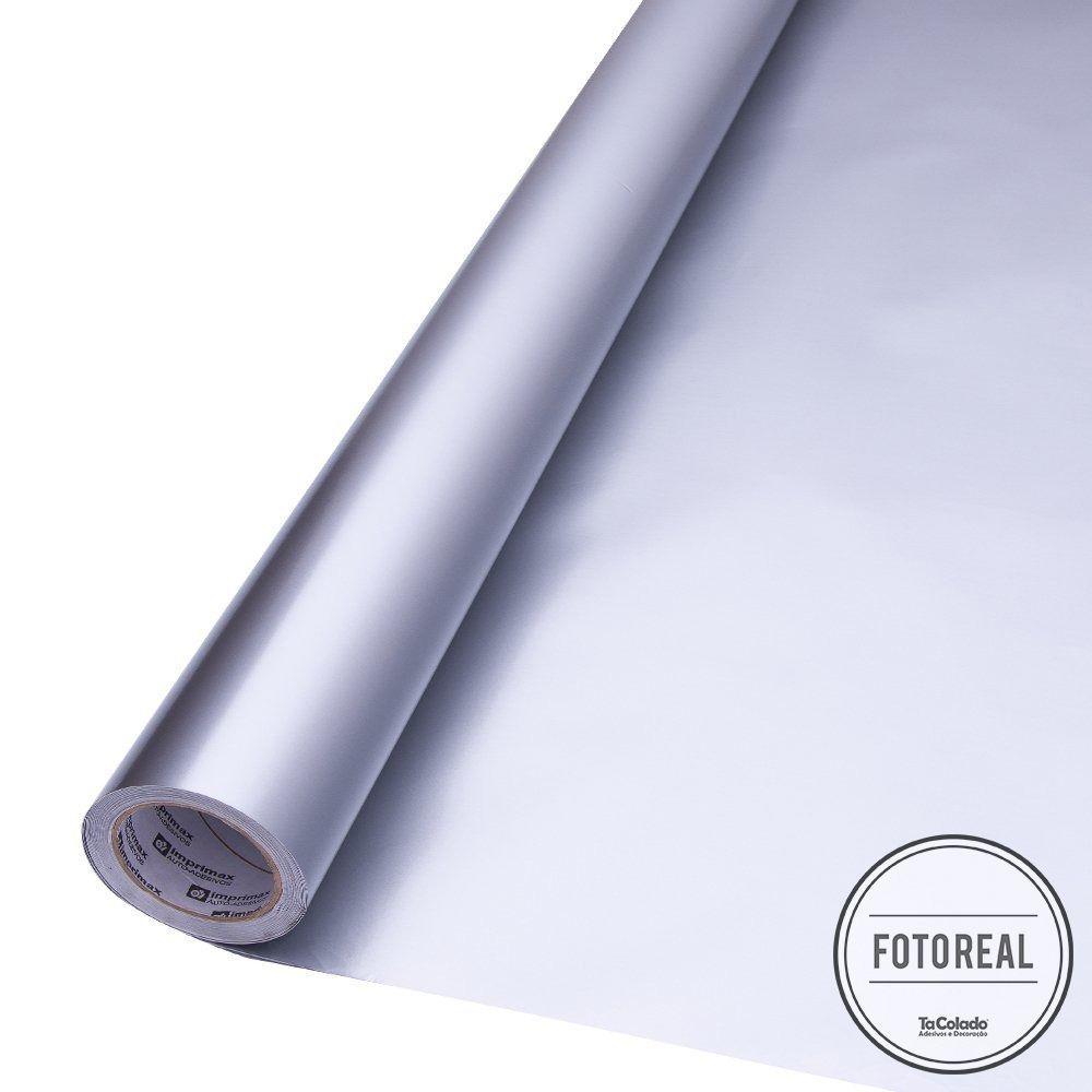 Outlet - Adesivo para móveis Brilhante Prata 0,61m  - TaColado