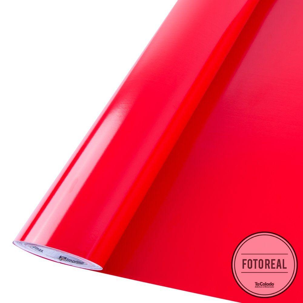 Outlet - Adesivo para móveis Brilhante Vermelho Tomate 0,61m  - TaColado