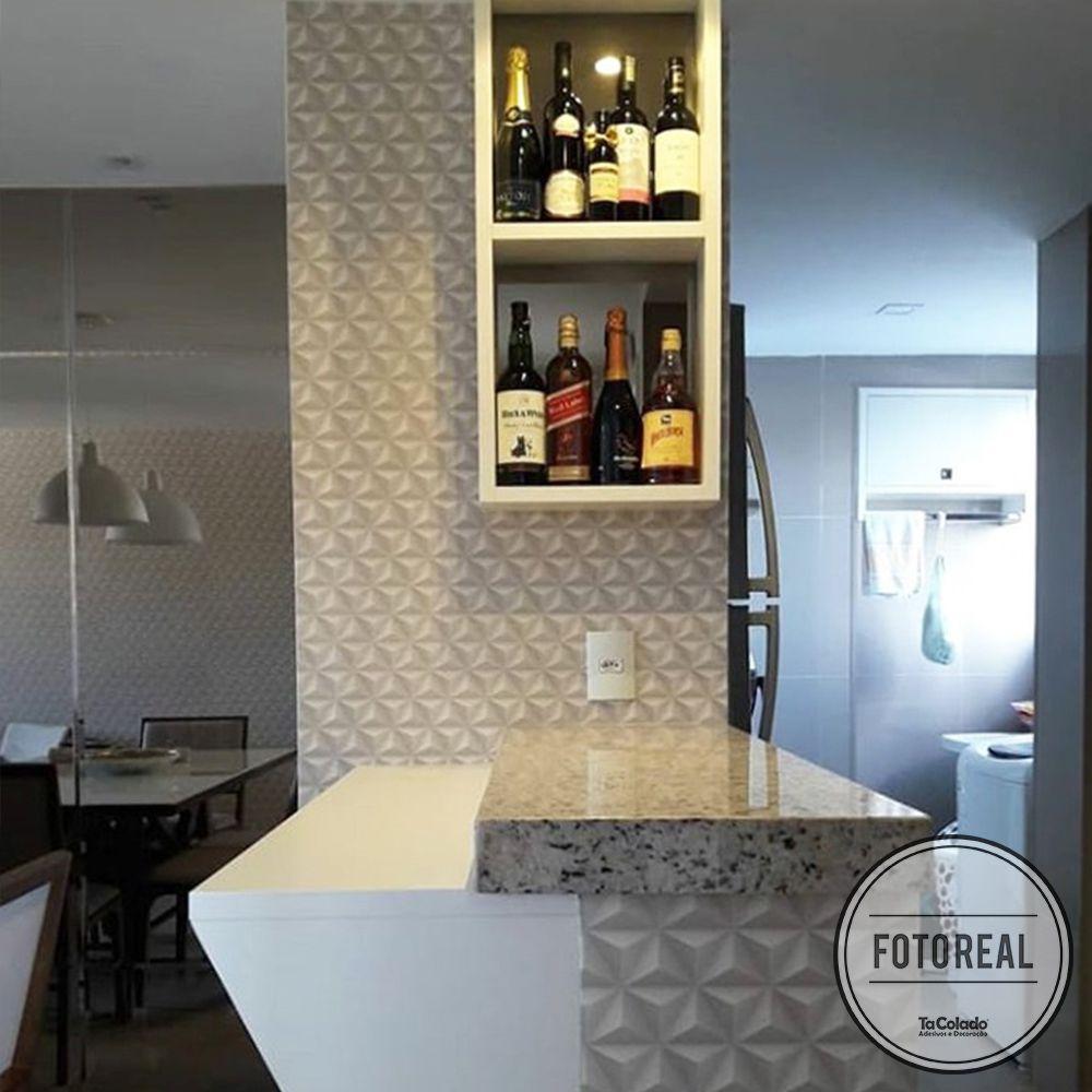 Outlet - Papel de Parede 3D Triângulo Classic Branco 0,58x1,70m  - TaColado