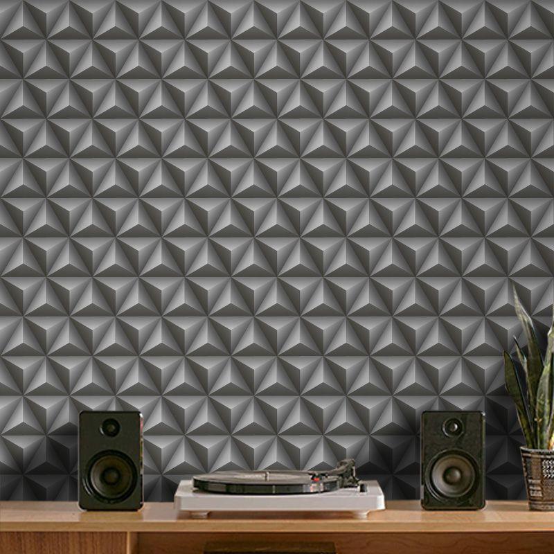 Outlet - Papel de Parede 3D Triângulo Classic Grafite 0,58x2,07m  - TaColado