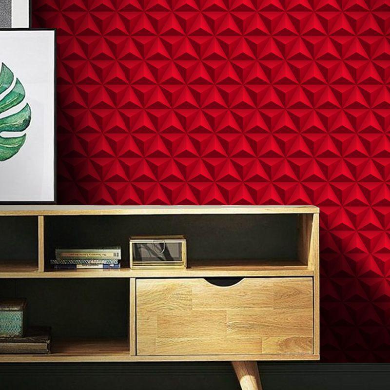 Outlet - Papel de Parede 3D Triângulo Classic Vermelho 0,58x2,70m  - TaColado