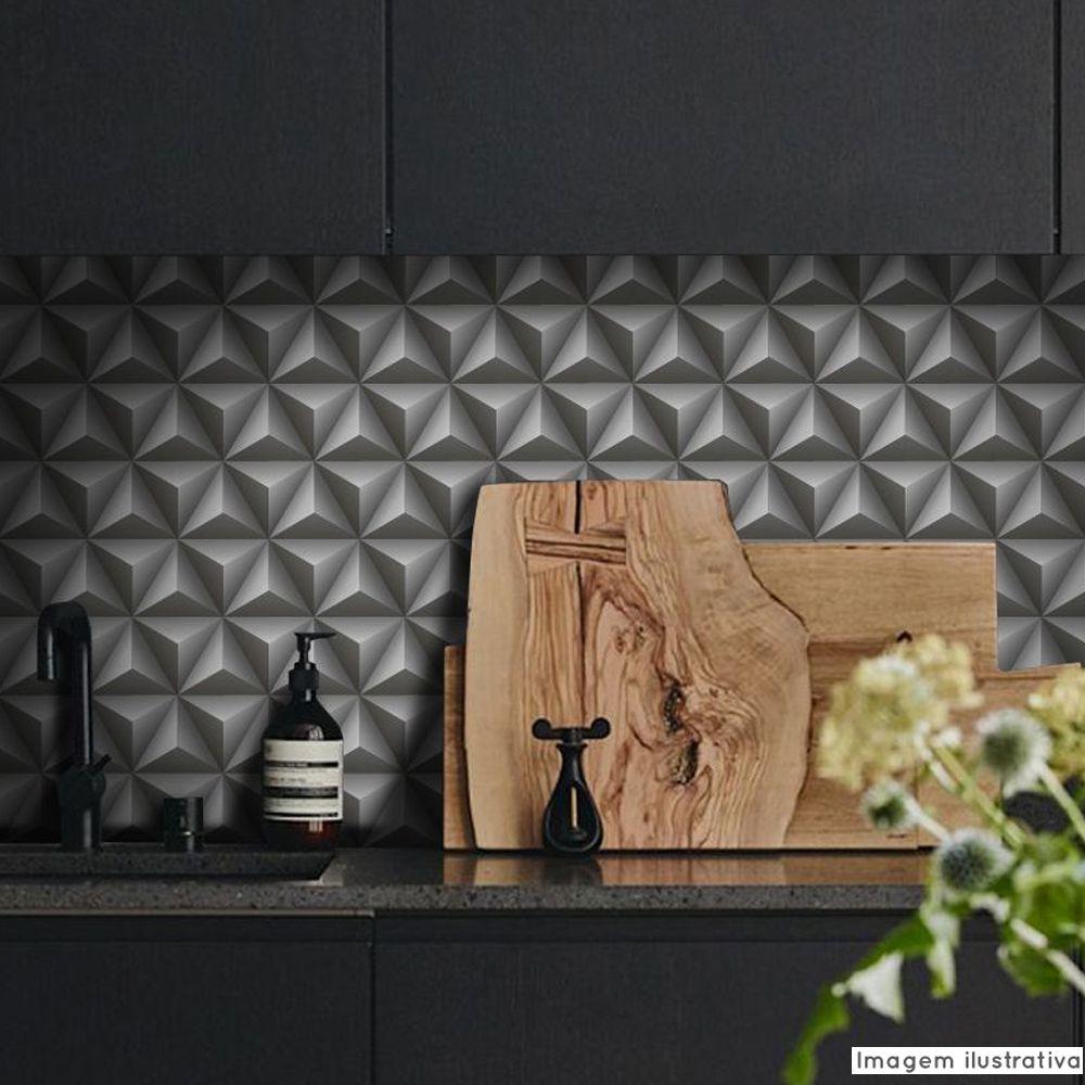 Outlet - Papel de Parede 3D Triangulo Grafite 0,54x3,00m  - TaColado