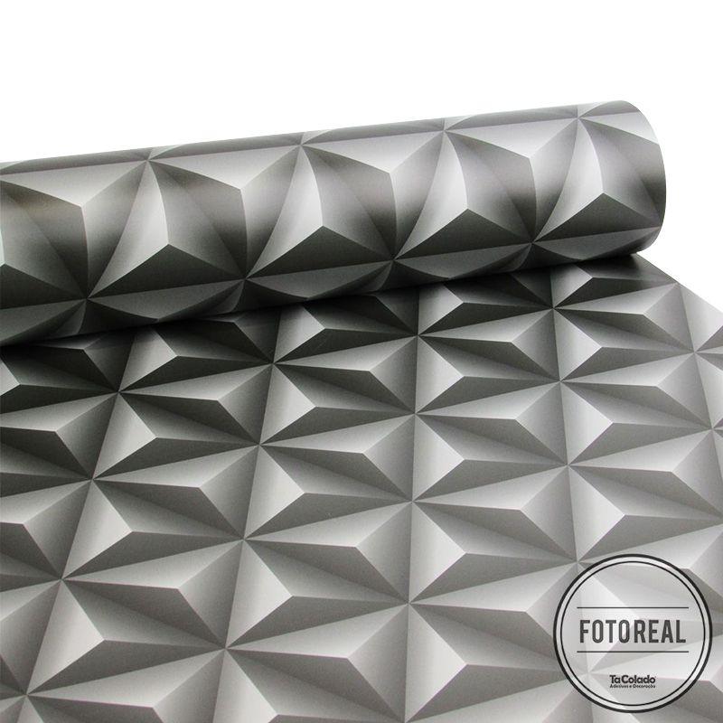 Outlet - Papel de Parede 3D Triangulo Grafite 0,58 x 2,90m  - TaColado