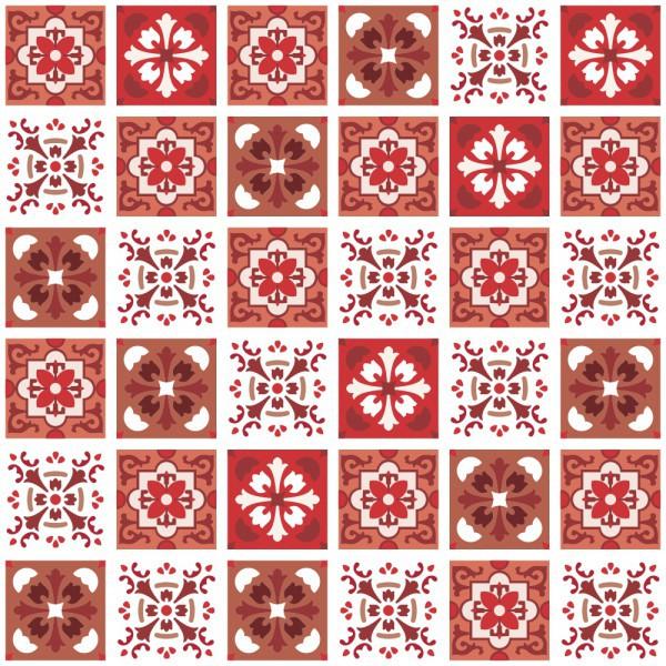 Outlet - Papel de Parede Azulejo Badalona Vermelho 0,58X2,00m  - TaColado