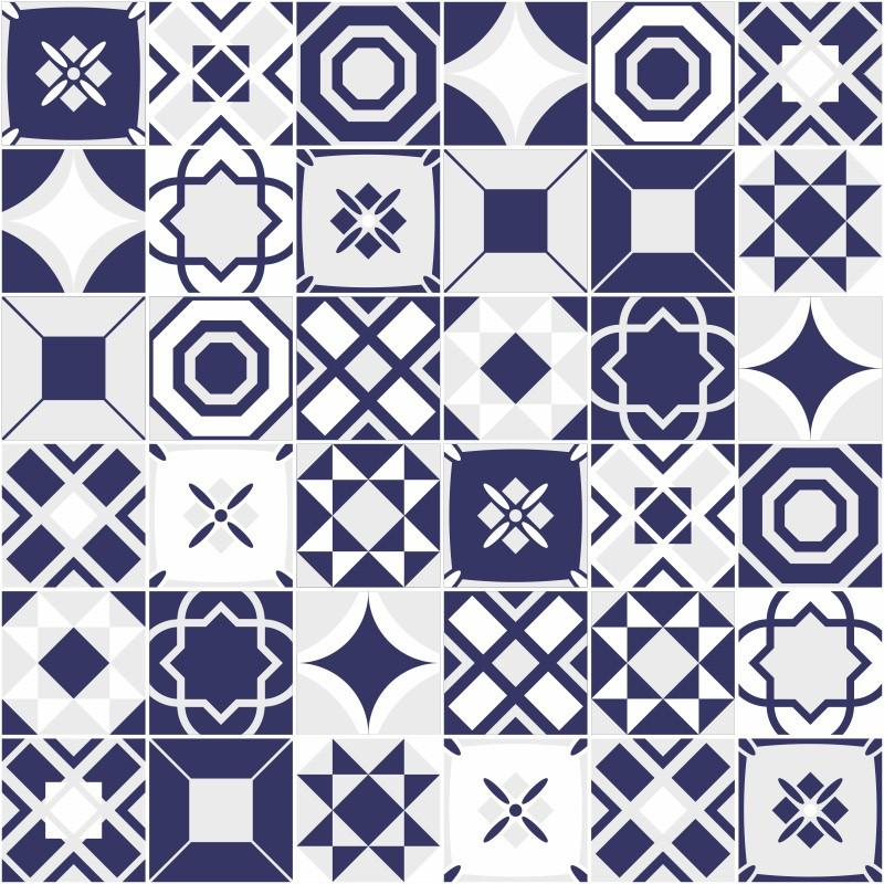 Outlet - Papel de Parede Azulejo Bragança Azul 0,58 x 2,00m  - TaColado