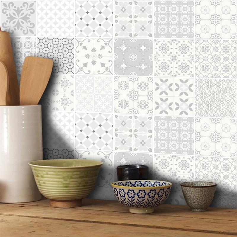 Outlet - Papel de Parede Azulejo para Cozinha Aveiro Cinza 0,56x2,40m  - TaColado
