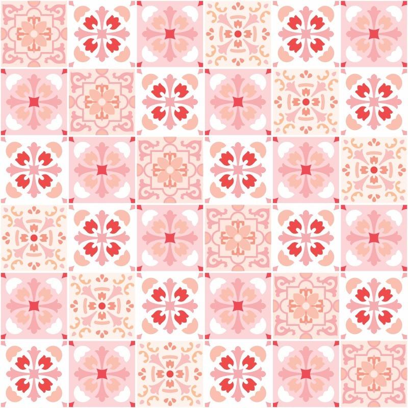 Outlet- Papel de Parede Azulejo para Cozinha Badalona Rosa 0,49x3,00m  - TaColado
