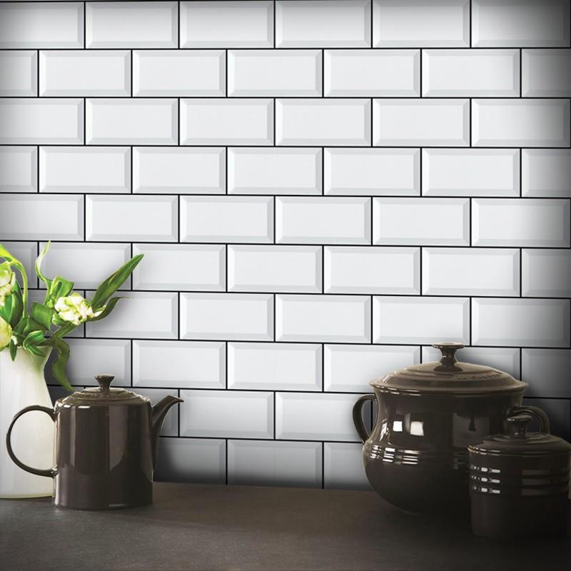 Outlet - Papel de Parede Azulejo para Cozinha Metro Branco 0,58 x 2,50m  - TaColado