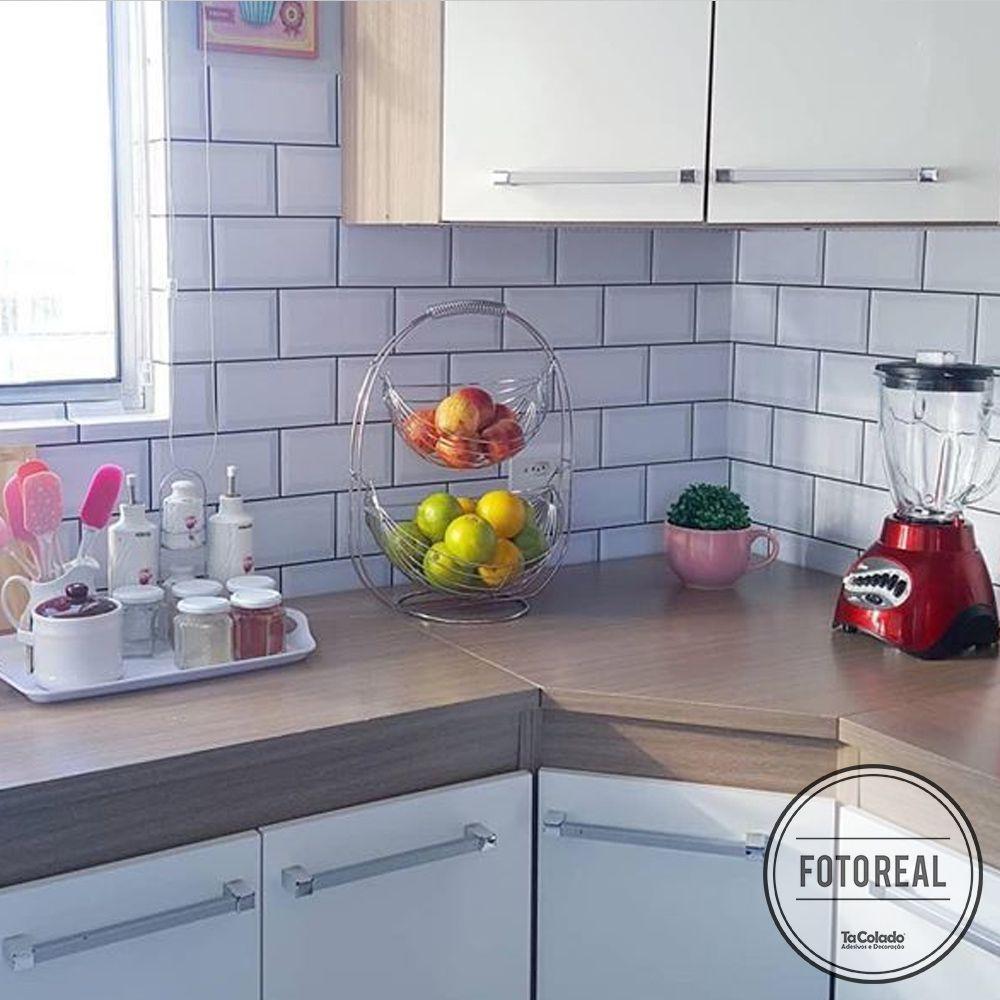 Outlet - Papel de Parede Azulejo para Cozinha Metro Branco 0,58x2,40m  - TaColado