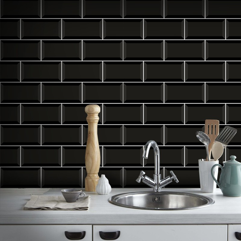 Outlet - Papel de Parede Azulejo para Cozinha Metrô Preto 0,58x2,60m  - TaColado