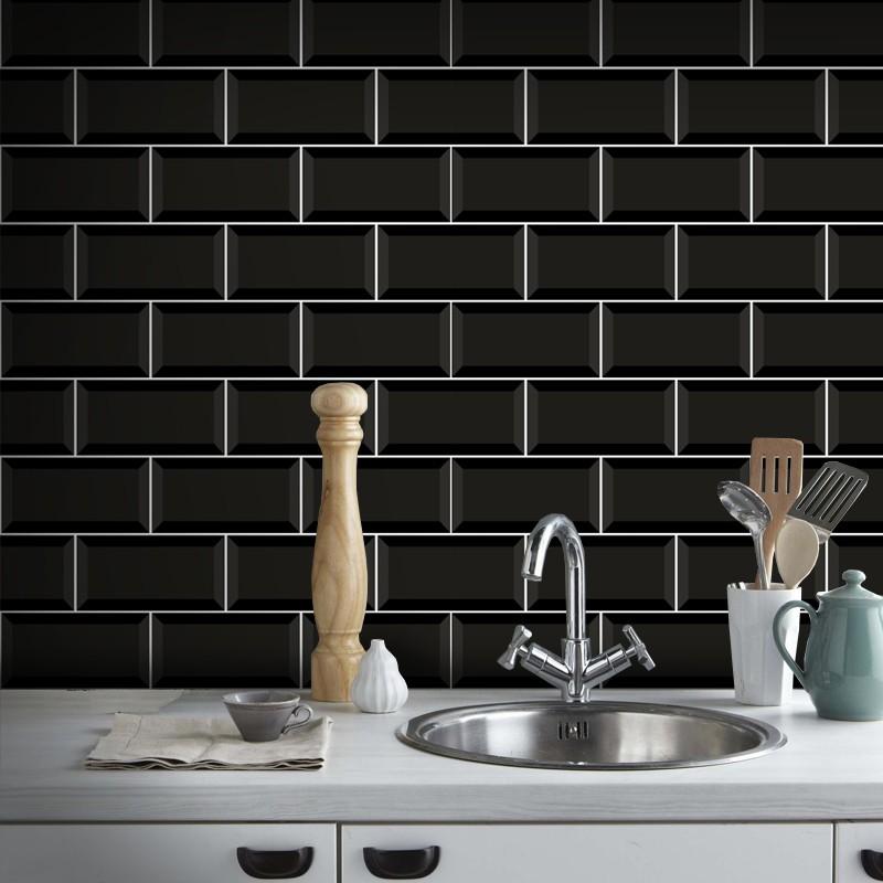 Outlet - Papel de Parede Azulejo para Cozinha Metrô Preto 0,58x2,70m  - TaColado