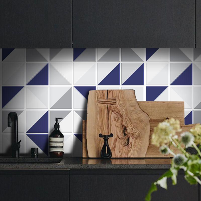 Promoção - Papel de Parede Azulejo para Cozinha Retângulo Azul   - TaColado