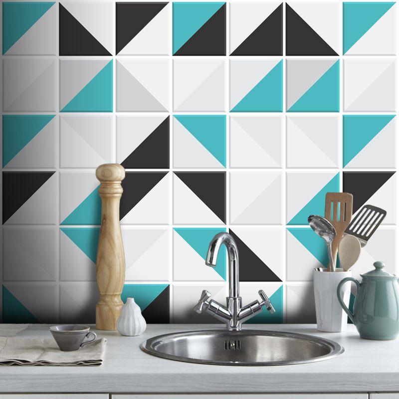 Outlet- Papel de Parede Azulejo Para Cozinha Retângulo Turquesa 0,58x2,60m  - TaColado