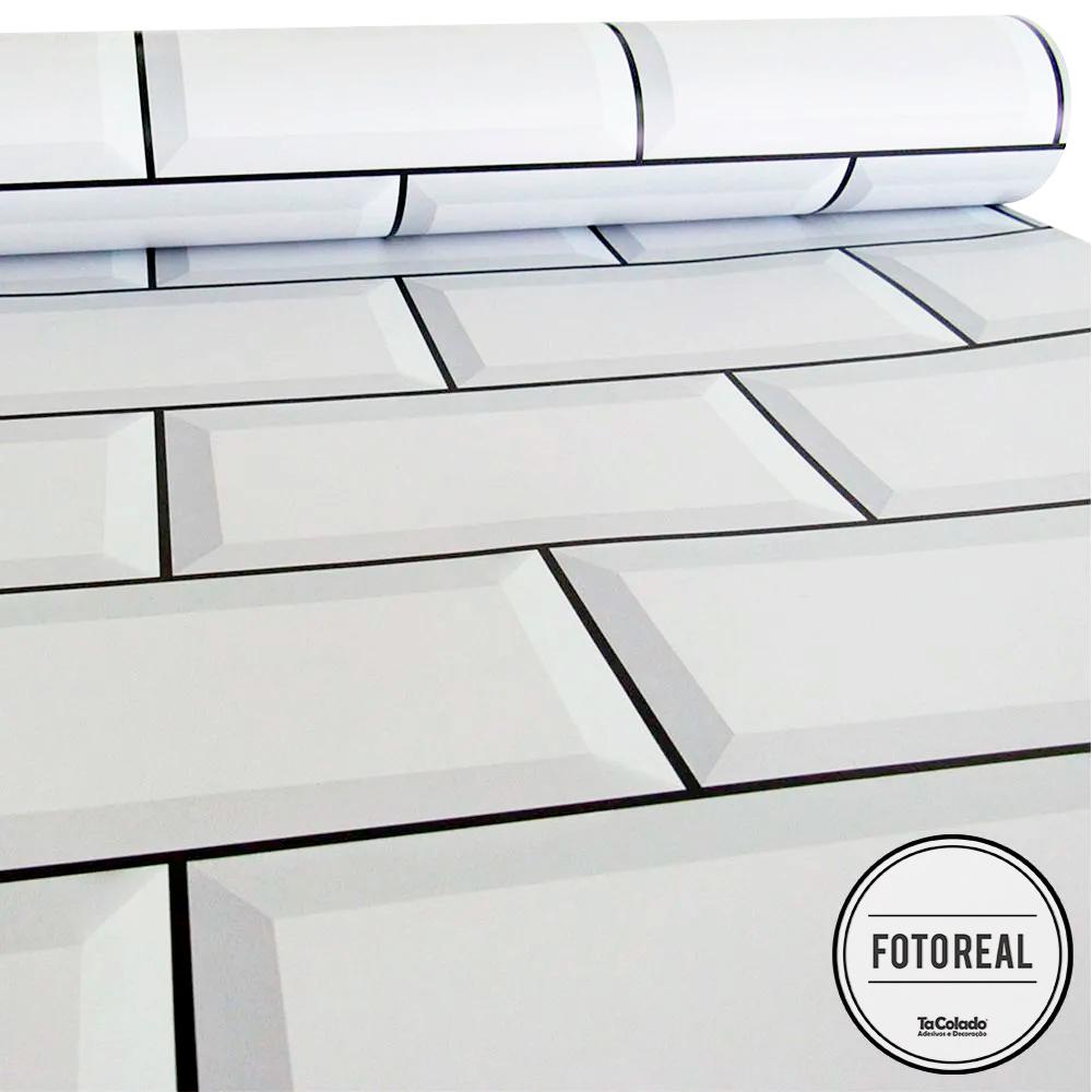 Outlet - Papel de Parede Azulejo Pop Metrô Branco 0,46 x 2,30m  - TaColado
