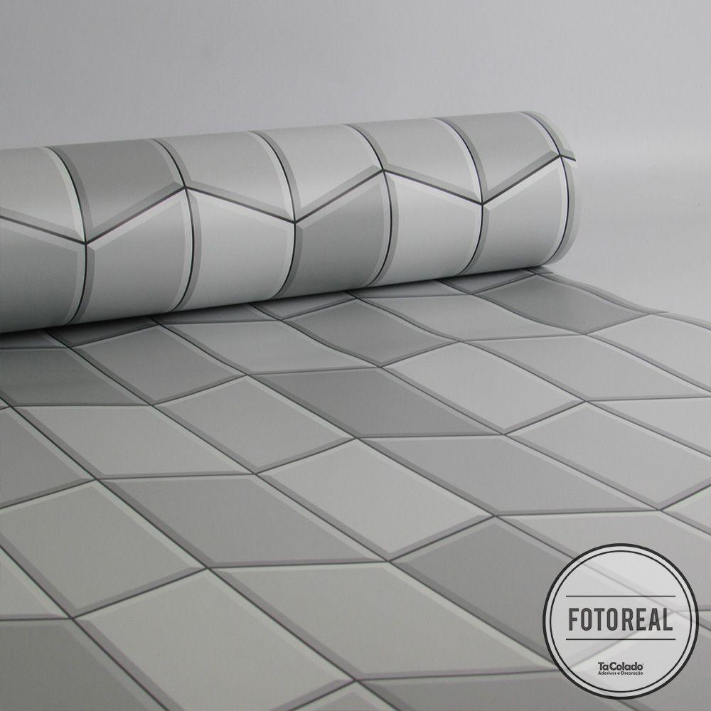 Outlet - Papel de Parede Azulejo Tile Cinza 0,58 x 2,80m  - TaColado