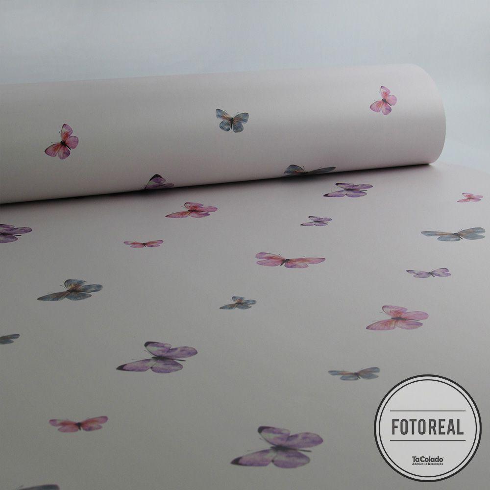 Outlet - Papel de Parede Borboletas Rosa 0,58x2,30m  - TaColado