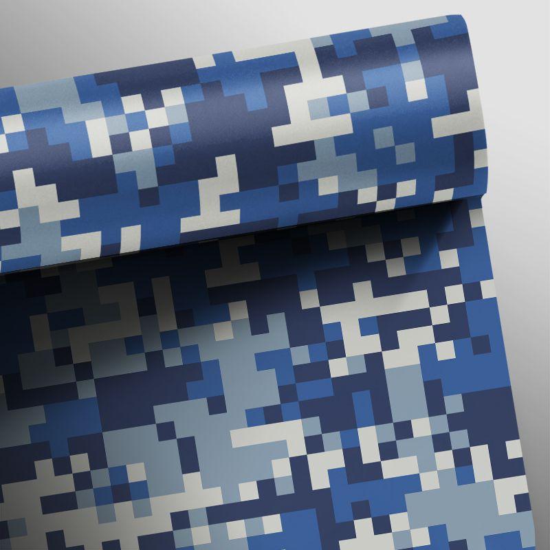 Outlet - Papel de Parede Camuflado Pixel Azul 0,58X2,40m  - TaColado