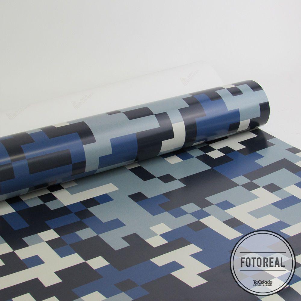 Outlet - Papel de Parede Camuflado Pixel Azul 0,58x2,66m  - TaColado