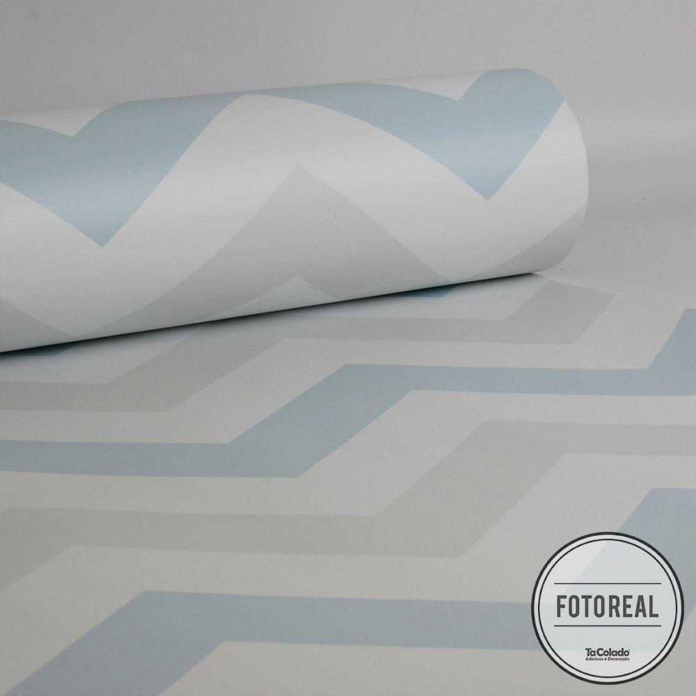 Outlet - Papel de Parede Chevron Clear Azul e Cinza 0,58 x 2,30m  - TaColado