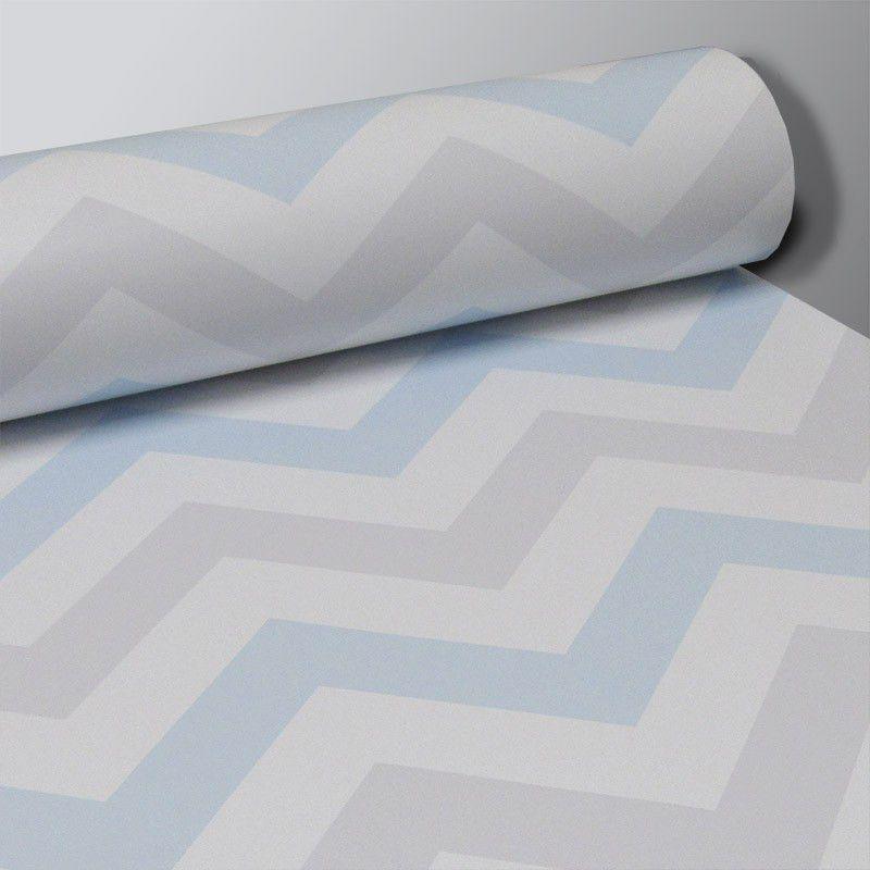 Outlet - Papel de Parede Chevron Clear Azul e Cinza 0,58x2,60m  - TaColado